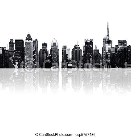 cityscape - silhouettes of skyscrapers - csp5757436
