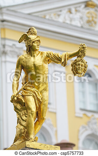 Statue of Perseus with the head of the gorgon Medusa, Petergof, Saint Petersburg, Russia - csp5757733