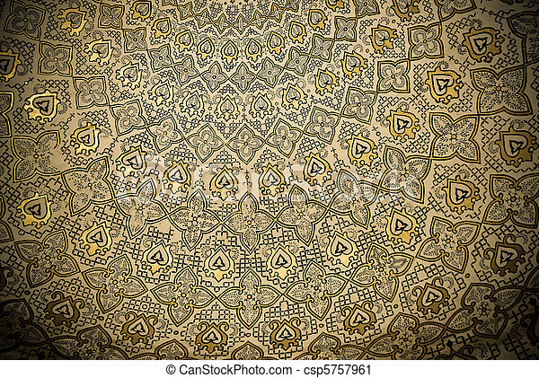Dome of the mosque, oriental ornaments from Samarkand, Uzbekistan - csp5757961