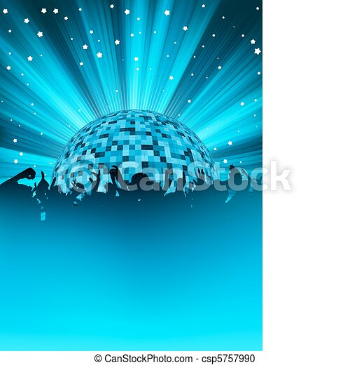 Party poster with disco ball. EPS 8 - csp5757990