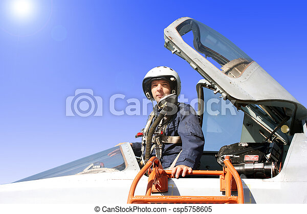 The military pilot in the plane - csp5758605