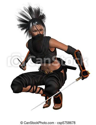 Female Fantasy Ninja - crouching - csp5758678