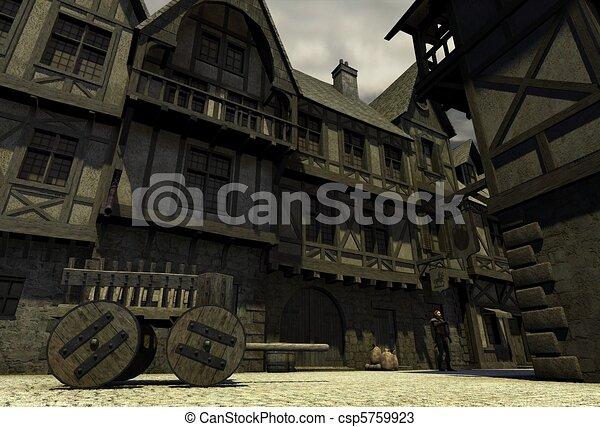Mediaeval or Fantasy Town - csp5759923