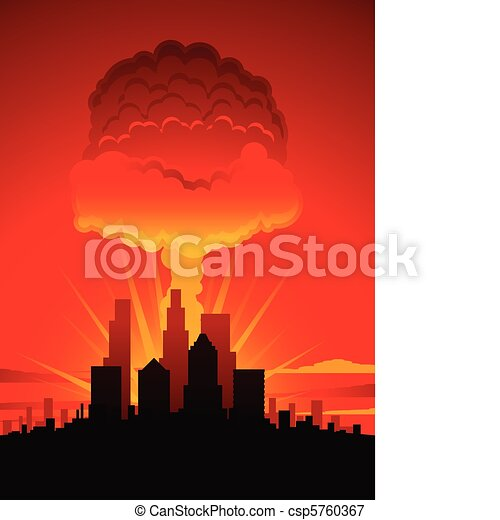 Vectors Illustration of Mushroom cloud and city - Nuclear ...