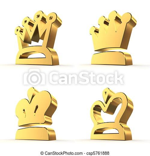 四, 皇家,  -, 王冠, 金 - csp5761888