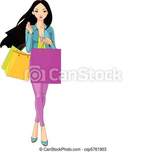 Asian Girl with shopping bags - csp5761903