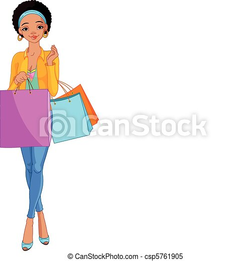African Girl with shopping bags - csp5761905