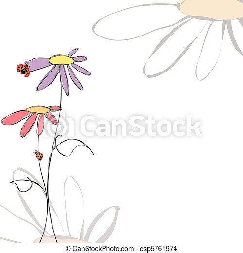 Spring summer floral with ladybirds on white background - csp5761974