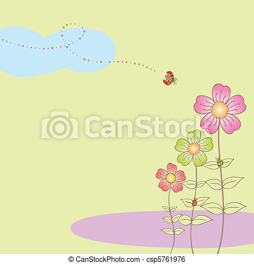Springtime flora postcard with ladybird - csp5761976
