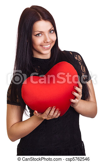 Woman holding Valentines Day heart sign with copy space - csp5762546