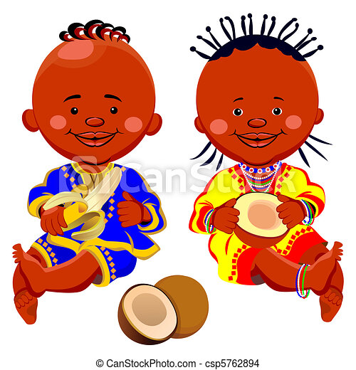 vector african kids with coconut and bananas - csp5762894