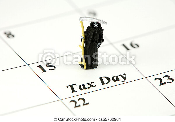 Concept: Grim Reaper on calendar on April 15 (Tax Day) - csp5762984