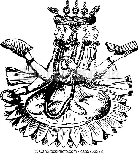 Noah (Bramah) and his Three Sons on a Lotus After the Deluge - csp5763372