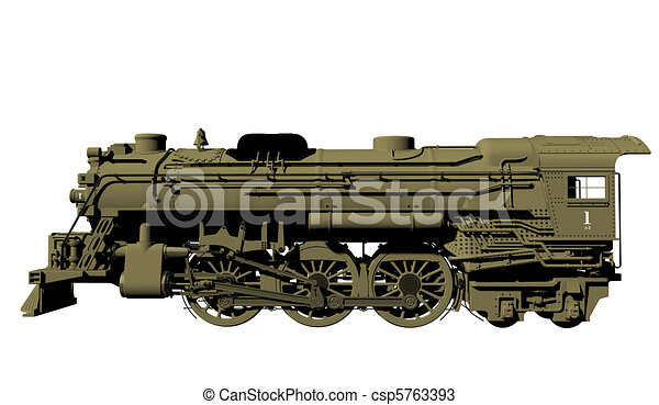 Drawings of Old steel locomotive - Side view of an old ...