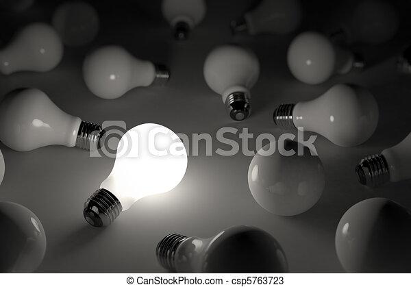 Lit light bulb - csp5763723