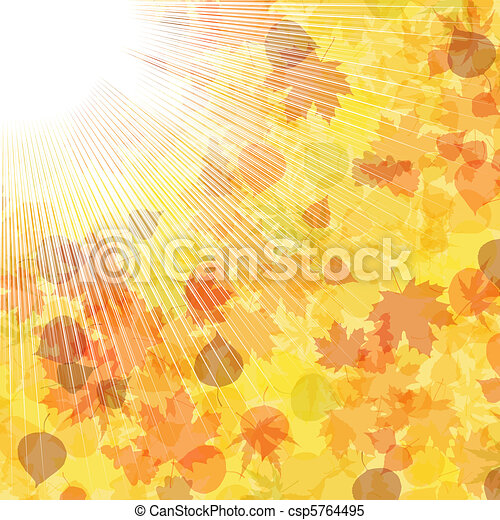 Autumnal leaf of maple and sunlight. EPS 8 - csp5764495