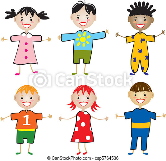 rows of young children - csp5764536