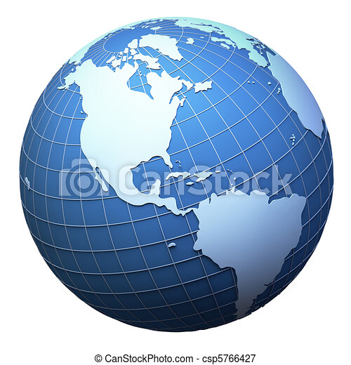 Planet earth model isolated on white - Americas - csp5766427