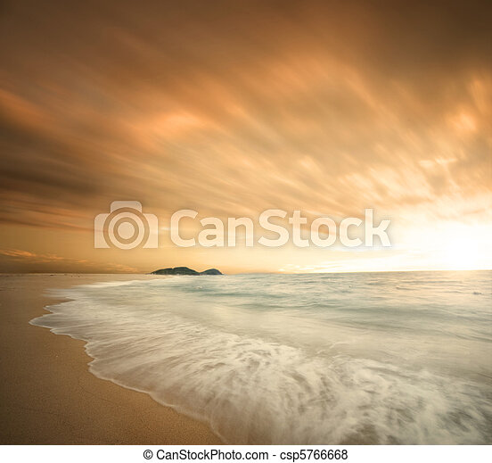 beautiful beach during sunset - csp5766668