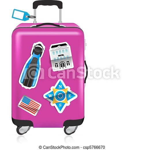 Red suitcase for travel with stickers - csp5766670