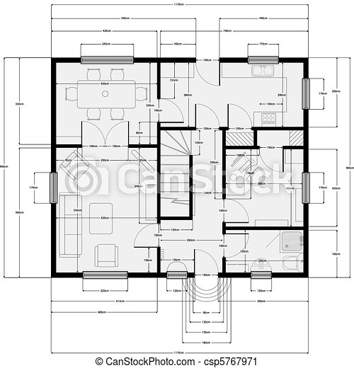 Vector clip art of building plans architectural building for Building plans images