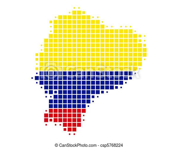 Ecuador Vector Flag Map And Flag of Ecuador