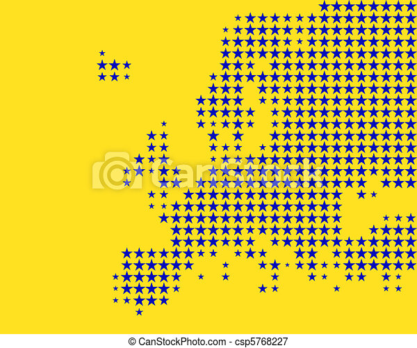 Map and flag of Europe - csp5768227