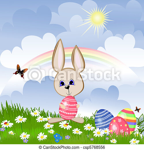 Rabbit with Easter eggs on lawn - csp5768556
