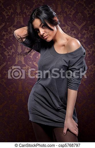 mulher, cabelo, pretas, atraente, retrato, excitado - csp5768797