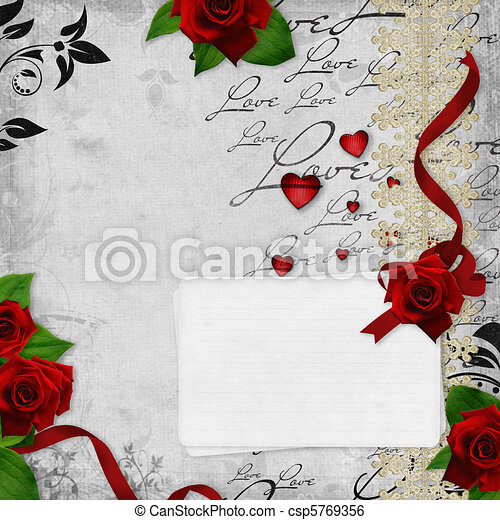 vintage weddings  card with roses and text love - csp5769356