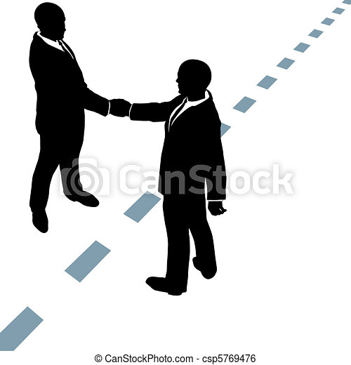 Business people shake hands agree on dotted line - csp5769476