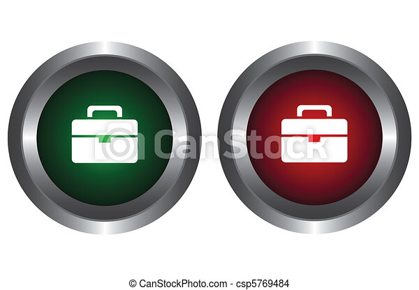Two buttons with a portfolio  - csp5769484
