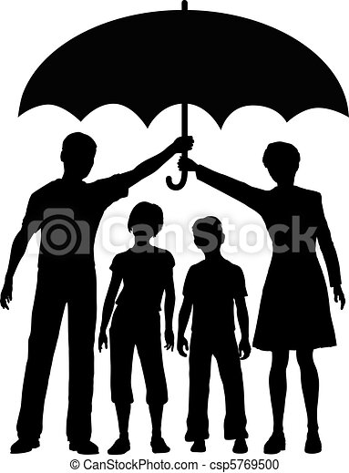 Family parents holding insurance security risk umbrella - csp5769500