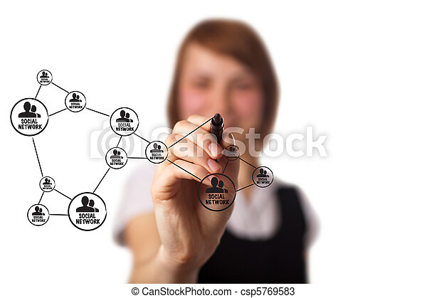 businessman drawing a social network scheme on a whiteboard  - csp5769583