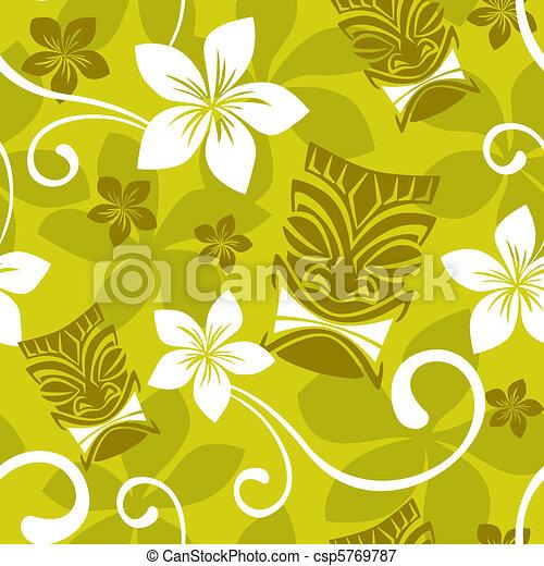 Seamless Luau Tiki Pattern - csp5769787