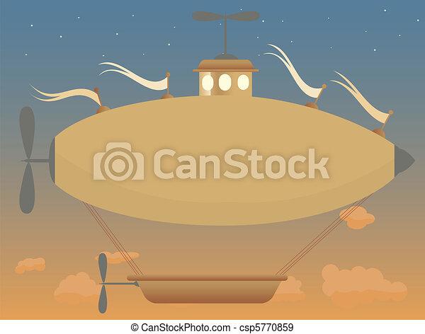 Sepia fantasy airship at dusk baske - csp5770859