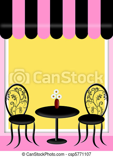 Bistro Restaurant with Awning Table and Chairs - csp5771107