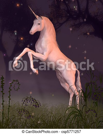 Unicorn in a Moonlit Forest Glade - csp5771257