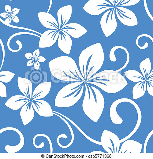 Seamless Blue Hawaii Pattern - csp5771368