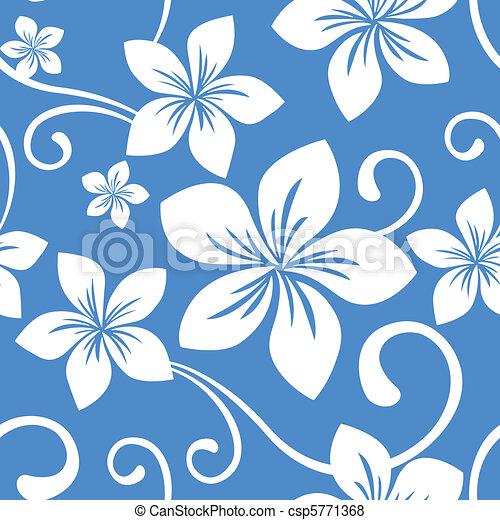 Seamless Blue Hawaii Pattern - csp5771368