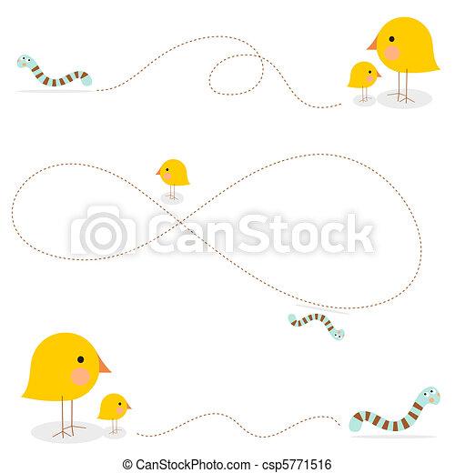 A parent bird teaching how to hunt - csp5771516