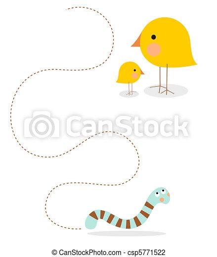 Parent bird teaching how to hunt - csp5771522