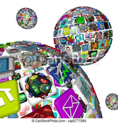 Galaxy of Apps - Several Spheres of Application Tiles - csp5771564