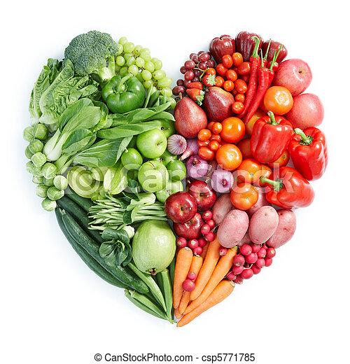 saudável, alimento, verde, vermelho - csp5771785