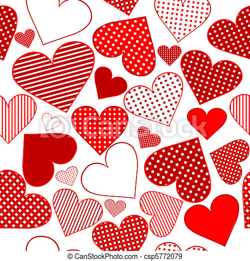 Seamless pattern background with red stylized hearts - csp5772079