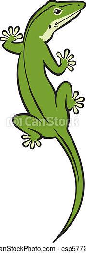 clipart vector of green lizard illustration of a green
