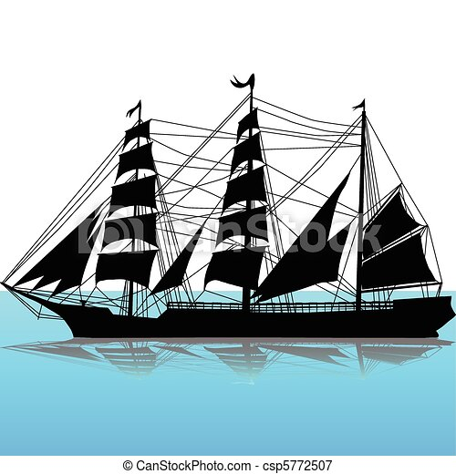 Vectors Illustration of The old boat silhouette csp5772507 ...