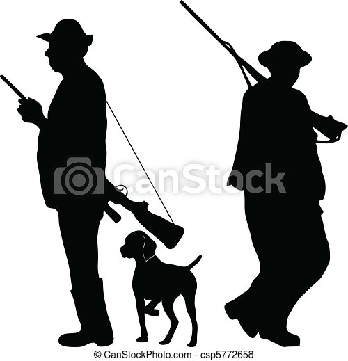 Two hunters with rifles - csp5772658