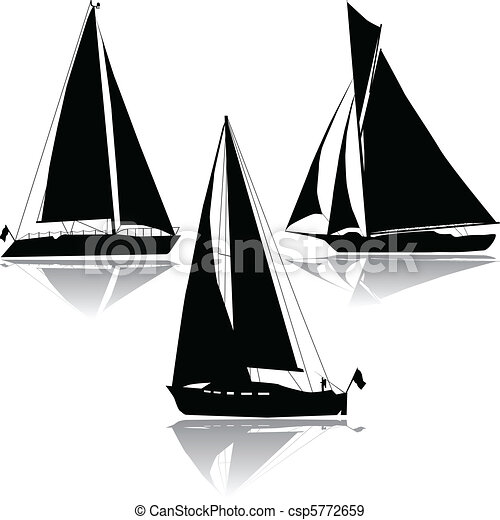 Three yachts sailing silhouette - csp5772659