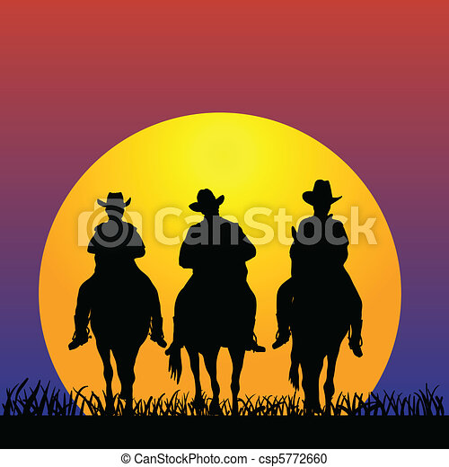 Three Cowboys at sunset - csp5772660